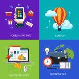Banderas del negocio, arranque, compra en un tecleo, idea del negocio y márketing móvil Vector plano Foto de archivo