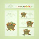 Banderas del negocio con las frutas y verduras en cesta Imagen de archivo