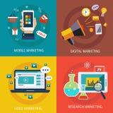 Banderas del negocio, Internet, móvil, digital, estudio de mercados, márketing video Vector plano libre illustration