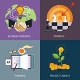 Banderas del negocio socios comerciales, estrategia libre illustration