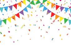 Banderas del partido con confeti Foto de archivo libre de regalías