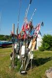 Banderas del pescador y equipo de pesca Fotografía de archivo libre de regalías