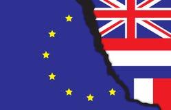 Banderas del Reino Unido, de Francia, del netherland y de la unión europea con una grieta, BREXIT, NEXIT, FREXIT libre illustration