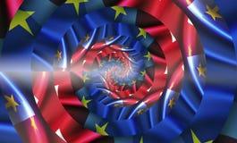 Banderas del Reino Unido y de la unión europea Efecto de Droste imagen de archivo libre de regalías