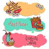 Banderas del restaurante de los alimentos de preparación rápida fijadas Fotografía de archivo libre de regalías