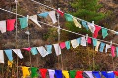 Banderas del rezo con mantras fotos de archivo libres de regalías