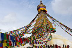 Banderas del rezo en Boudhanath Stupa en Katmandu, Nepal Imagen de archivo