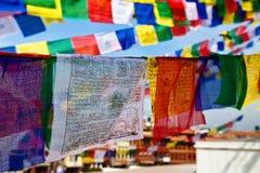 Banderas del rezo en buddhism Imagen de archivo