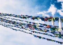 Banderas del rezo en fondo del cielo Foto de archivo libre de regalías