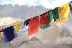 Banderas del rezo en Ladakh Fotografía de archivo