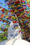 Banderas del rezo en Swayambhu Nepal foto de archivo