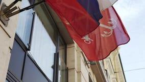 Banderas del ruso y de St Petersburg almacen de video