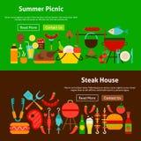 Banderas del sitio web de la comida campestre de la parrilla del Bbq Imagenes de archivo