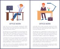 Banderas del trabajo de oficina que sueñan a los varones que se sientan en el trabajo stock de ilustración
