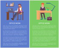 Banderas del trabajo de oficina que sueñan a los varones que se sientan en el trabajo libre illustration