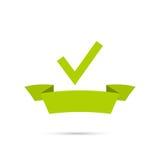 Banderas del vector con las marcas de verificación stock de ilustración