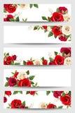 Banderas del vector con las rosas rojas y blancas Imágenes de archivo libres de regalías