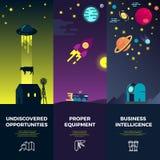Banderas del vector de espacio con los iconos astronómicos planos y los planetas del UFO ilustración del vector