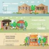 Banderas del vector del concepto del festival de la comida de la calle Productos de la venta de la gente de paradas Imagenes de archivo