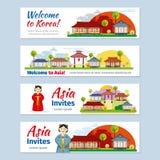Banderas del vector del viaje de Corea, Japón, Tailandia libre illustration