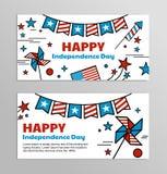 Banderas del vector para el Día de la Independencia americano Imagen de archivo libre de regalías