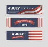 Banderas del vector para el Día de la Independencia de América Fotografía de archivo