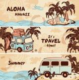 Banderas del verano y del viaje del vintage ilustración del vector