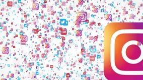 banderas del vuelo 4K de las medias compañías sociales más populares del mundo stock de ilustración