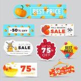 Banderas del web de la promoción de venta con el fondo del otoño promo libre illustration
