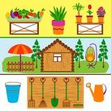 Banderas del web de las herramientas que cultivan un huerto y de las verduras stock de ilustración