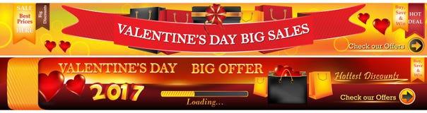 Banderas del web del día del ` s de la tarjeta del día de San Valentín stock de ilustración
