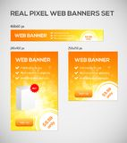 Banderas del web del tamaño estándar fijadas. Imagenes de archivo