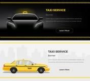 Banderas del web del servicio del taxi Ejemplo temático del vector del taxi Foto de archivo libre de regalías