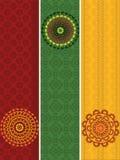 Banderas detalladas de la alheña con la mandala stock de ilustración