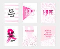 Banderas determinadas de pecho de la conciencia nacional del cáncer Ilustración del vector ilustración del vector