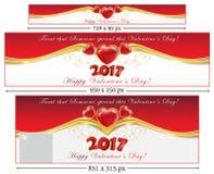 Banderas determinadas del web del día 2017 del ` s de la tarjeta del día de San Valentín ilustración del vector