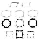 Banderas dibujadas de la mano negra, marcos para el texto aislado en blanco detrás Fotografía de archivo