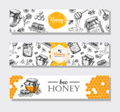Banderas dibujadas mano de la miel del vector Illust grabado miel detallada stock de ilustración