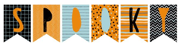 Banderas divertidas del empavesado del vector de Halloween Guirnalda fantasmagórica Ilustración del Vector