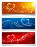 Banderas el día de la tarjeta del día de San Valentín s Fotografía de archivo