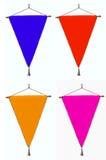 Banderas elegante del banderín cuatro o del triángulo con la frontera torcida brillante Foto de archivo