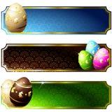 Banderas elegantes con los huevos de chocolate oro-adornados