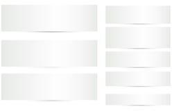 Banderas en blanco con los vectores de las sombras fijados Imagen de archivo