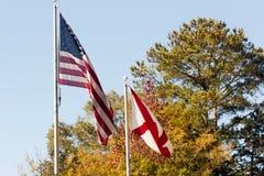 Banderas en caída Fotos de archivo libres de regalías