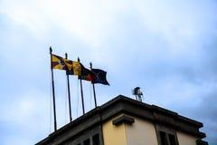 Banderas en el DOS Lavradores o el mercado de Mercado de los trabajadores Foto de archivo libre de regalías