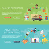 Banderas en línea de las compras y del márketing Fotografía de archivo