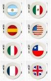 Banderas en las placas imágenes de archivo libres de regalías