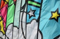 Banderas en Lincoln City, festival de la cometa de Oregon Imágenes de archivo libres de regalías