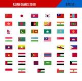 banderas en los Juegos Asiáticos 2018 Imagenes de archivo