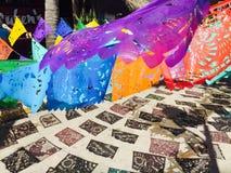 Banderas en Sayulita, México fotografía de archivo